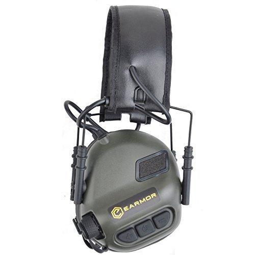 OPSMEN Sport geräuschverstärkung Gunshot Geräuschunterdrückung Gehörschutz Elektronische Weiche Ohrenschützer Kopfhörer M31Serie, Unisex, Hunter Green