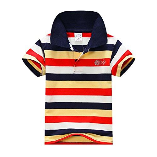ESHOO scherzt Jungen-Mädchen-kurzes Hülsen-gestreiftes T-Shirt Polo-Hemden Sommer 1-7 Jahre (Junge Gestreiften Hemd)