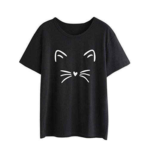 TIFIY Women Short Sleeve O-Neck Cat Partterned Causal Blouse Tops T-Shirt