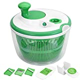 GreensKon Centrifugadora Ensalada, 5L Centrifugadora de Lechugas, Spinner de Ensalada, Rotador de Ensalada Grande con 3 cortadoras de mandolinas y 1 x Separador de Huevos