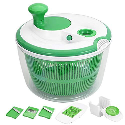 Salatschleuder|GreensKon Salattrockner mit großem Fassungsvermögen| trocknet den Salat effektiv und schonend |Innovatives Design| mit 3 Mandolinen Schneidemaschinen und 1 x Eier-Separator