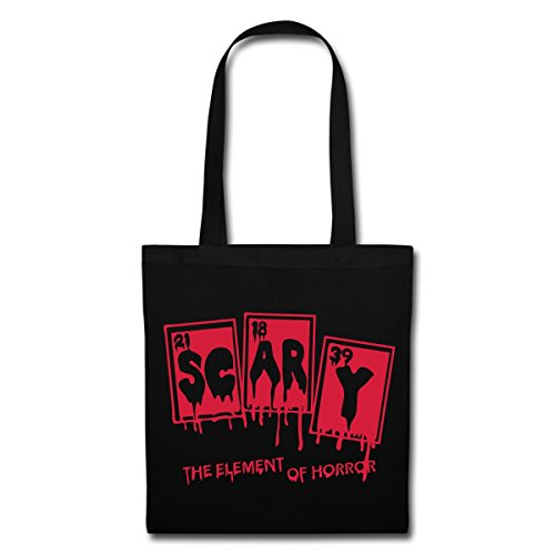 Spreadshirt Halloween Scary Element Of Horror Periodensystem Stoffbeutel Schwarz