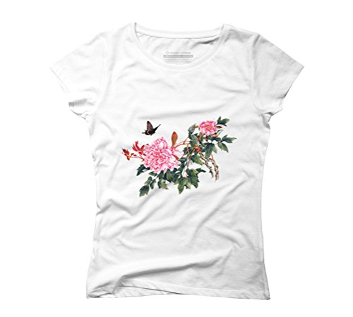 Butterflies in Love with Blossoms Women's Graphic T-Shirt - Design By Humans White
