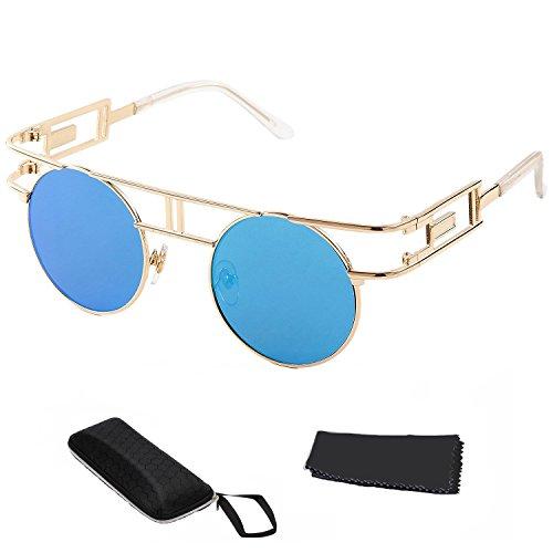 BAINA Frauen Männer Gothic Sonnenbrillen Outdoor Reflective Flash Spiegel Objektiv Steampunk Sunglasses