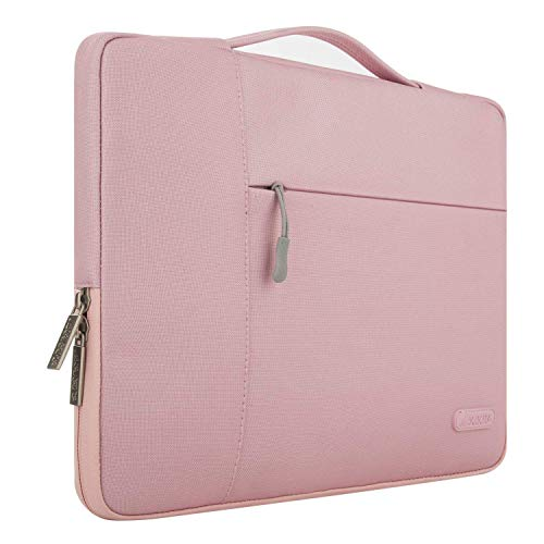MOSISO Tasche Sleeve Hülle Kompatibel 15-15,6 Zoll MacBook Pro, Notebook Computer Multifunktionshülsen Spritzwasserfest Laptoptasche Handtaschen mit zusätzlichem Stauraum Polyester Schutzhülle, Rosa