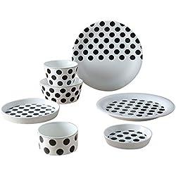XCXDX Juego De Cubiertos Redondos De Lunares En Blanco Y Negro, Vajilla De Porcelana, Ensaladera, Tazón De Cereales, 9 Piezas