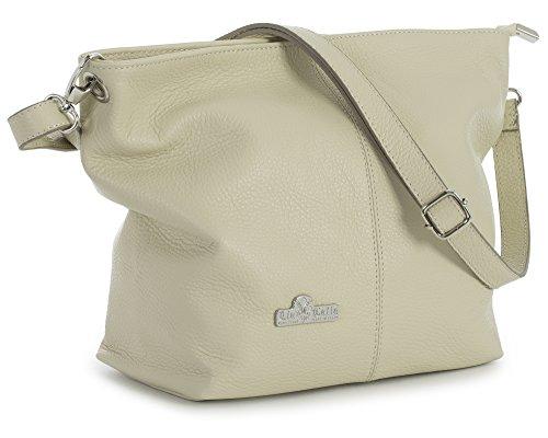 LiaTalia Damen Italienische mittelgroße Hobo Schultertasche aus echtem Leder mit einer Staubschutztasche - Adal - Helle Beige (Handtaschen Slouch Frauen Für)