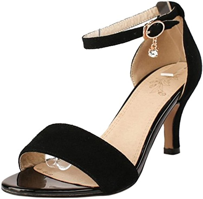 RAZAMAZA Mujer Moda Correa de Tobillo Mini Tacon Sandalias Punta Abierta Tacon Medio Delgado Zapatos