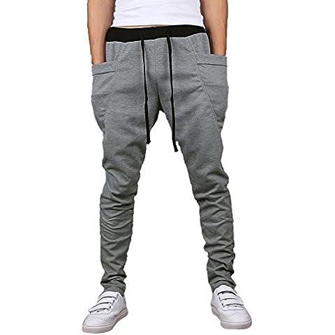 SODIAL (R) Casual hombre del basculador danza ropa de deporte holgado Harem Pantalones Gris claro Talla L