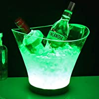 GJXY LED Ice Bucket, Large Capacity Wine Cooler Bucket With Colors Changing Light,Waterproof Glowing Drinks Champagne Bar Beer Buckets KTV Party Restaurant Nightclubs Pub Home Wedding,green,6L