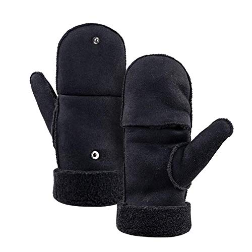 Destinely Half-Finger bezieht Sich auf Dual-Use-Handschuhe, Winterfell warme Handschuhe Verdickung Outdoor-Camping Dual-Use-Casual-Flip-Handschuhe