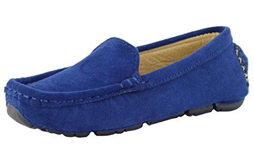 DADAWEN Girl's Boy's Suede Slip-On Loafers Blue Size 1