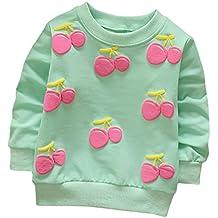 Cartoon Erdbeer Kirsche Print T-Shirt Kleinkind Kind, DoraMe Baby Jungen Mädchen Lange ärmel Pullover Warme Bluse O-Ausschnitt Sweatshirt für 0-3 Jahr