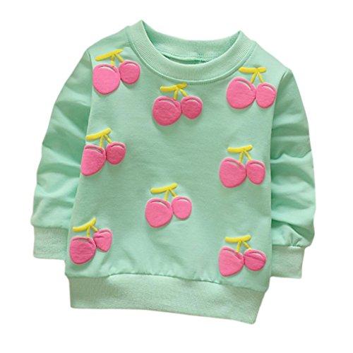 Cartoon Erdbeer Kirsche Print T-Shirt Kleinkind Kind, DoraMe Baby Jungen Mädchen Lange ärmel Pullover Warme Bluse O-Ausschnitt Sweatshirt für 0-3 Jahr (B-Blau, 12 Monate) (Weihnachten Disney Kleidung)