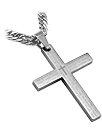 "Stainless Steel Silver Serenity Cross Pendant Necklace with English Scripture Including 26"" Curb Chain from RAPID SPIRIT- Faith - It does not make things easy, it makes them possible!"