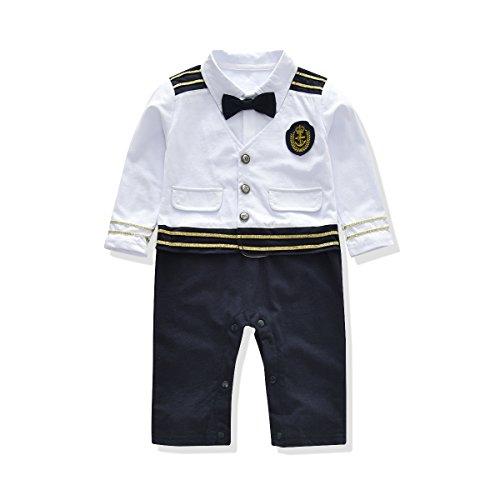Strampler Baby Junge Gentleman Bodysuit Anzug Outfits Babyanzug Bekleidungssets Kleikind Festliche Anzug mit Schleife Weste für 0-24 Monate (0-6M, Weiß)