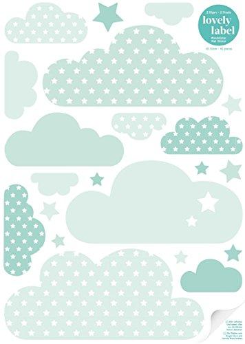 lovely label Wandsticker selbstklebend WOLKEN MINT/GRÜN - Wandaufkleber Kinderzimmer/Babyzimmer mit Wolken und Sternen - Wandtattoo Schlafzimmer Mädchen & Junge, Wanddeko Baby/Kinder