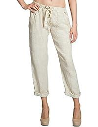5ce2f001a40 CASPAR KHS042 Long Women s Linen Pants Boyfriend Trousers for Summer