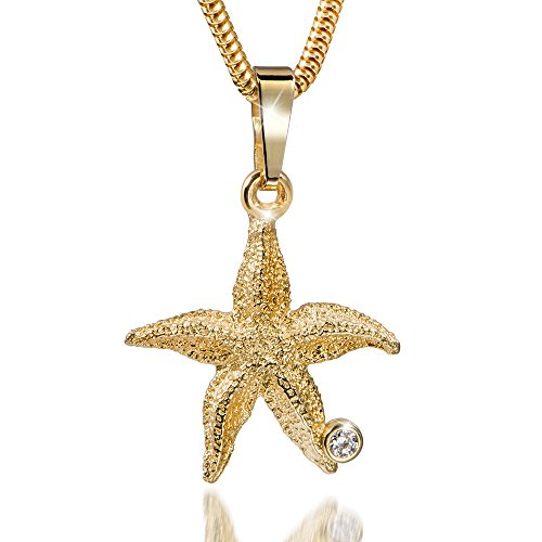 MATERIA 45cm Schlangenkette mit 333 Gold Kettenanhänger Seestern Zirkonia Starfish inkl. Box #GKA-13