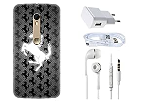 Spygen Motorola Moto X Style Case Combo of Premium Quality Designer Printed 3D Lightweight Slim Matte Finish Hard Case Back Cover + Charger Adapter + High Speed Data Cable + Premium Quality Handfree