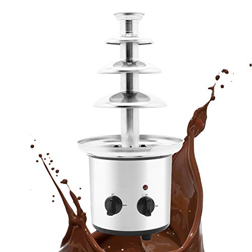 Huanyu 4 Tiers Fondue au Chocolat Grande Fontaine de 1360g Capacité de Chocolat Professionnelle Cascade Machine de Fonte Acier Inoxydable Commercial & Ménage Anniversaire Veille De Noël