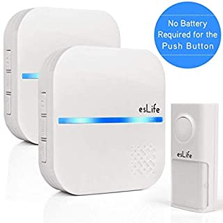 No Battery Required Wireless Doorbell, 1 Push Button(Self-Generating Power) with 2 Wall Plug-in Receivers, IP55 Waterproof Door Bell, 58 Chimes Kit, White