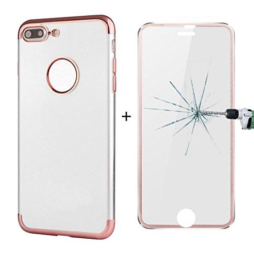 Hülle für iPhone 7 plus , Schutzhülle Für iPhone 7 Plus galvanisierender Rahmen weicher TPU schützender Fall rückseitige Abdeckung + 0.2mm 9H Härte 3D explosionsgeschützter Aluminiumlegierungs-Rahmen  Rose gold