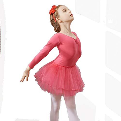 ZYLL Kinder Ballett Rock Langarm Tanzen Kleid Tanz Kostüm Wettbewerb,E,120CM