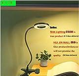 W-LITE LED Schreibtischlampe Klemmfuß 6W Leselampe Klemme Lichtfarben-Abwechselung Augenschutz für Bett, Buch, Nachttisch, Büro (Kein Adapter, Schwarz)