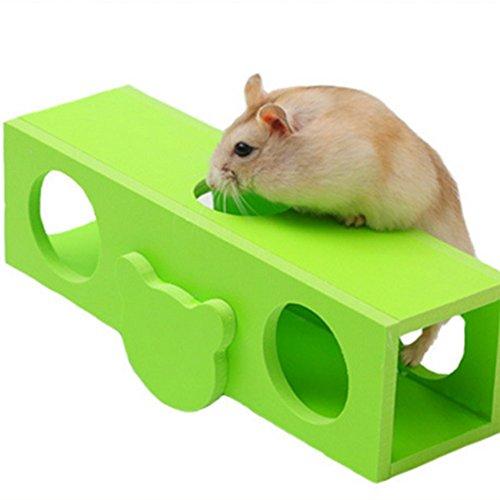 1X Toruiwa Hamster Spielzeuge Hamster Holz Wippe Tunnel Kleintier Holz für Hamster Ratte Maus (Grün)
