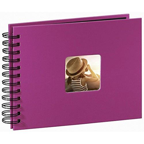 Hama Fotoalbum Spiralalbum (50 schwarze Seiten, 25 Blatt, Größe 24 x 17 cm, Mit Ausschnitt für Bildeinschub, Fotobuch) pink