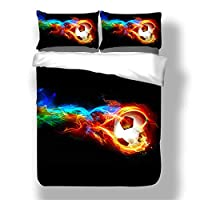 EU-VV Duvet Cover Bedding Set Soft and Breathable,Polyester-Cotton Material Sports Ball Game 1 Duvet Cover + 2 Pillowcases 48X74cm (Water fire football,Double(200x200cm))