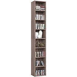 Homfa Librería Estantería de Pared 8 Cubos Estantes Ajustables Estantería Alta del Suelo para Libros CDs 180cm*29.5 * 23.5 (Roble)