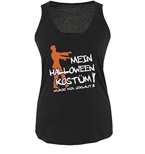 Comedy Shirts - MEIN HALLOWEEN KOSTÜM WURDE MIR GEKLAUT ZOMBIE - Damen Tank Top Schwarz / Weiss-Orange Gr. XL