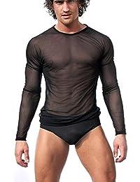 iEFiEL Herren Unterhemd Transparent T-Shirt Langarm Tank Top Shirt  Nachtwäsche Männer Reizvoll Unterwäsche 4cc5204c76