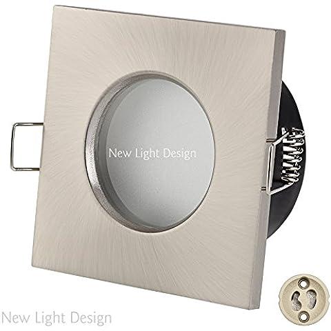 Set di 4in alluminio coperte cornice per incasso IP65quadrato in nichel satinato incl. LED COB Spot dimmerabile 6Watt 490lumen bianco caldo