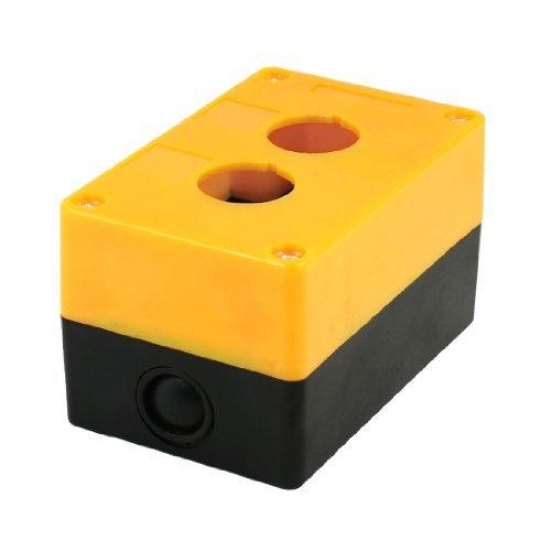 DealMux Orange Schwarz Kunststoff 25mm Durchmesser Loch 2-Tasten-Schalter Control Station Box Taste Control Station