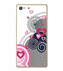 FABCASE Premium rose colour beautiful design graphic art heart shapes and love symbols Printed Hard Plastic Back Case Cover for Sony Xperia M5 Dual