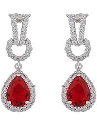 SHAZE Rhodium Plated Silver Danglers Earrings For Women