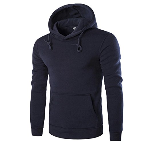 IMJONO Männer Retro Langarm-Kapuzenpullover mit Kapuze Sweatshirt Tops Jacke Mantel Outwear (EU-50/CN-2XL,Marine)