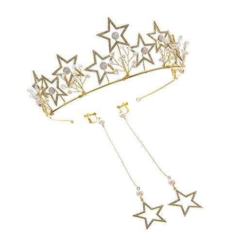 Gazechimp Braut Strass Tiara Stirnband und Baumeln Stern Ohrgehänge Geschenk für Damen Frauen