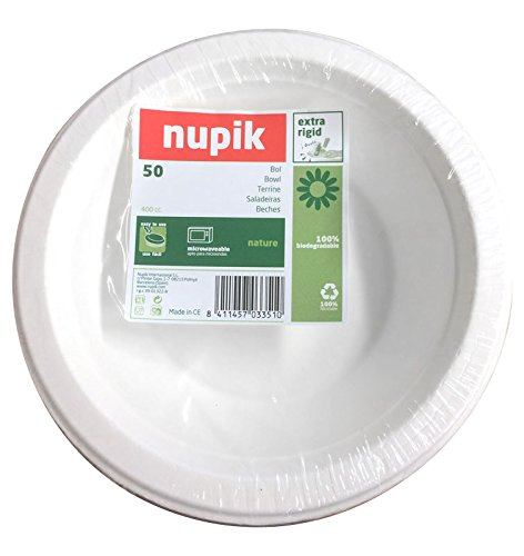Nupik Cuencos extra rígido, 100% biodegradable para el microondas 40 cl/d17.5 cm - Pack de 50