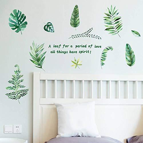 LIU Wohnkultur Palm Leaves Wandaufkleber Green Leaf Aquarell Farne Abziehbilder Wohnzimmer Schlafzimmer Dekorative Wandbilder