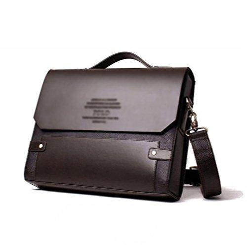 Wewod Umhängetasche Herren Vintage business aktentasche studententasche Leder Herrentaschen laptop messenger bag 13 Zoll(schwarz)