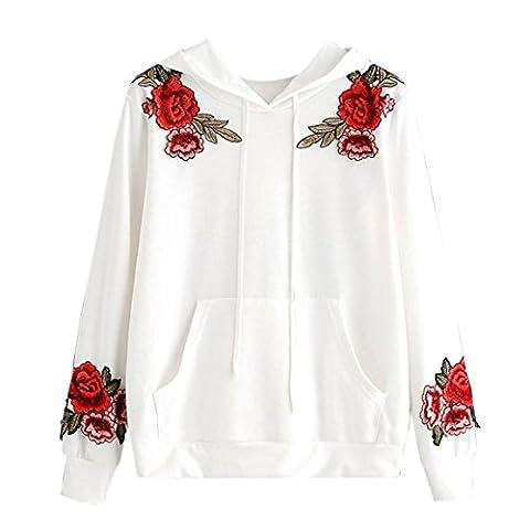 Womens Long Sleeve Hoodie Bluse,Moonuy Rose Stickerei Applique Kapuzenoberteile Sweatshirt (L, Weiß)