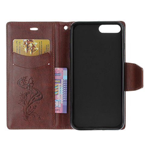 iPhone 7 Plus Custodia, iPhone 7 Plus Cover, JAWSEU Apple iPhone 7 Plus 5.5 Custodia Cover Lusso Liscio Puro Pell Wallet Pouch Custodia per Apple iPhone 7 Plus Telefono Custodia [Shock-Absorption] con Farfalla Diamante, Marrone