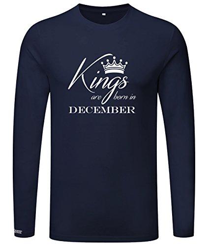 Kings are born in December - Geburtstag - Herren Langarmshirt Navy