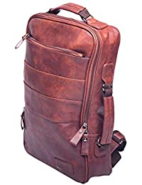 7daf010955d7 Toreto 15.6 Inch Finished Leather Premium Quality Brown Color Laptop  Backpack