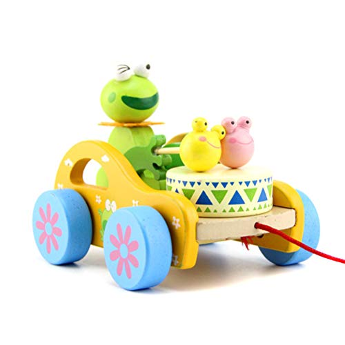 Makasy Cute Rabbit/Frog Trommel Spielzeug Nachziehtier aus Holz, Auto mit Rad Push und Pull Spielzeug Nachziehspielzeug Ziehtiere ab 1 Jahr für Babys Kleinkinder