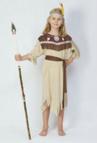 Partypackage Ltd Kinder-Mädchen Indianer Squaw Kostüm für Wilder Westen Native Kostüm Höhe: 110-120cm Klein